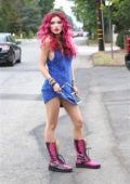 Bella Thorne dressed in blue at a party in Viceroy L'Emitage Hotel in Hollywood