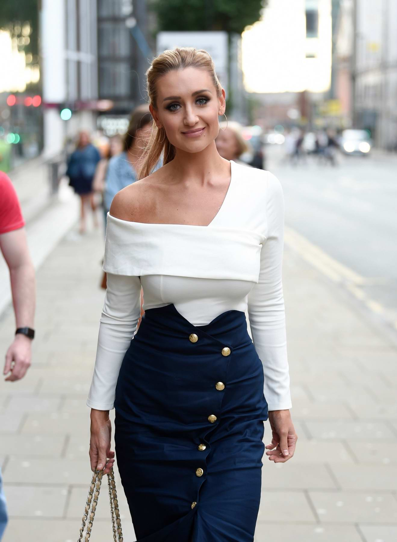 Catherine Tyldesley seen enjoying girls night out at Be Impossible Bar and Restaurant in Manchester