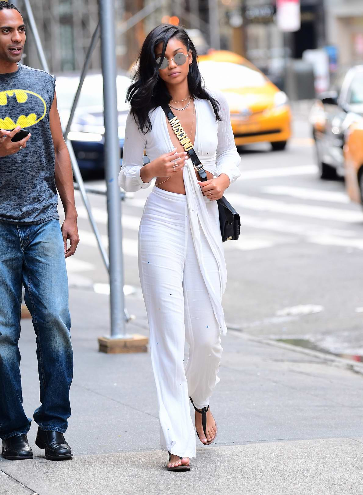 Chanel Iman was spotted out after leaving lunch at Nobu in New York