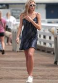 Charlotte McKinney in a Polka dot goes out for coffee with a Friend in Malibu
