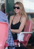 Charlotte McKinney is spotted doing the Spikes Car radio podcast on the Porch of the Malibu Kitchen