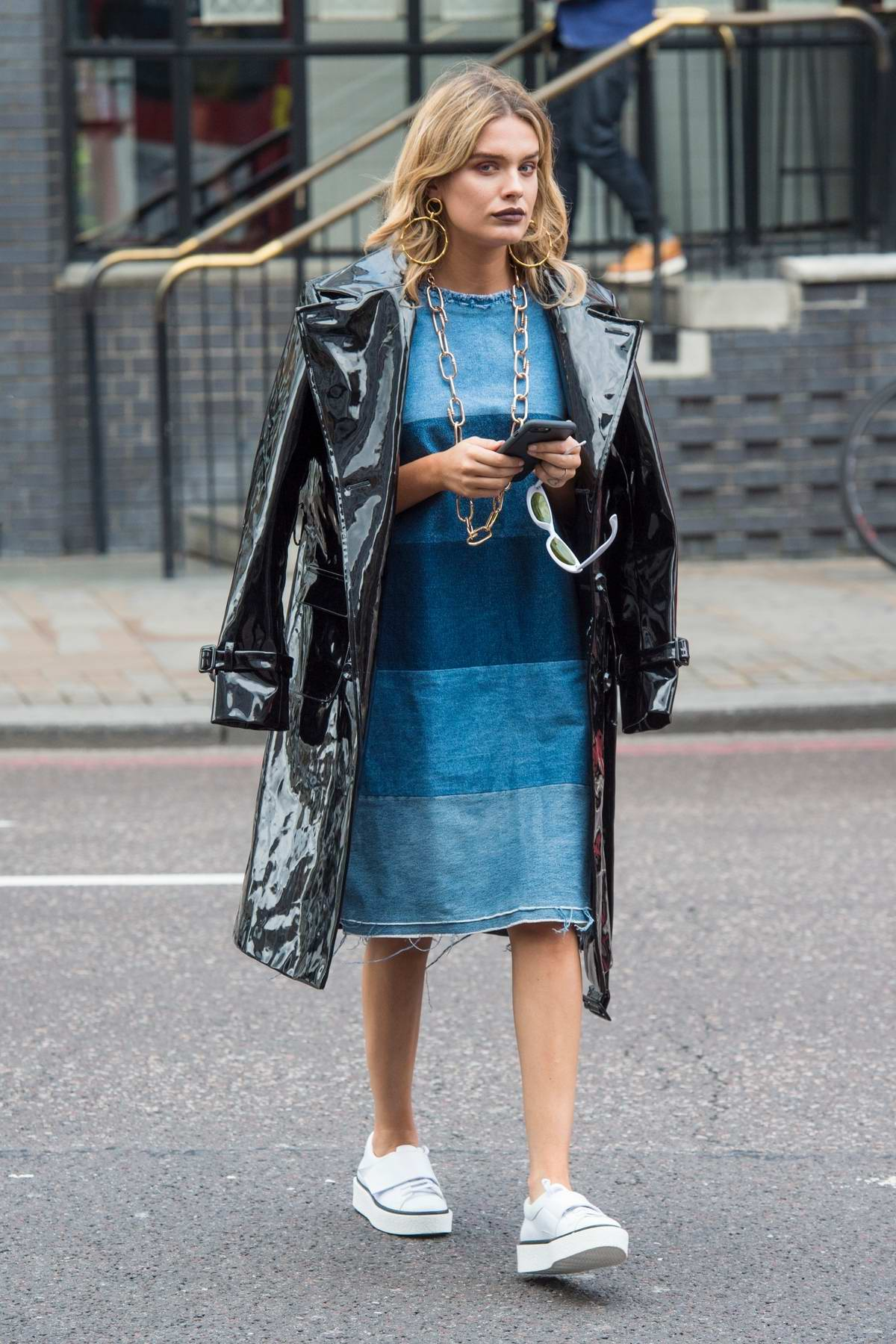 Chloe Lloyd looking trendy out in East London, UK