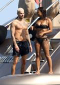 Christina Milian in a bikini enjoys a holiday on a yacht in the South of France with French singer Matt Pokora