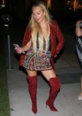 Corinne Olympios chic in red outside of Neuehouse in hollywood, Los Angeles