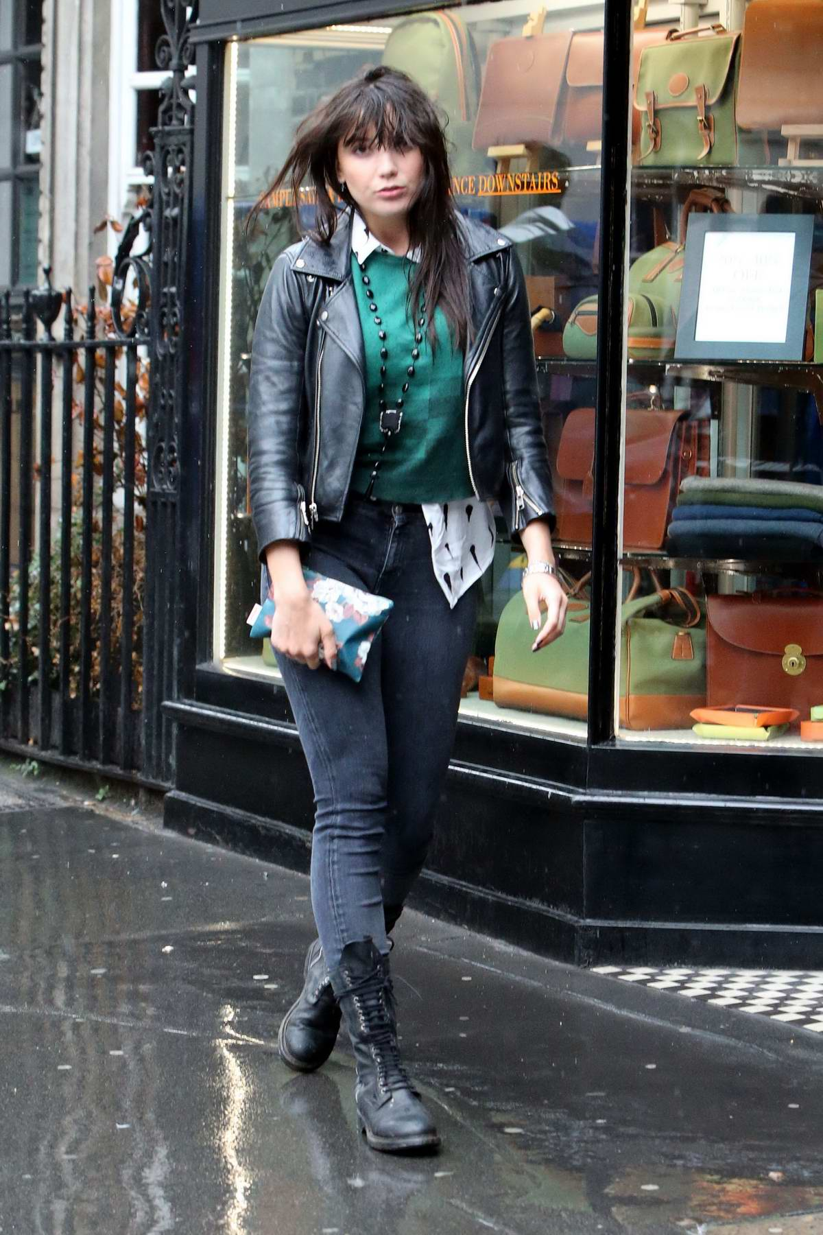 Daisy Lowe shopping on a rainy day in London