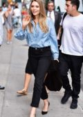 Elizabeth Olsen arriving at the Ed Sullivan theater for The Late Show with Stephen Colbert taping in New York