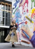 Elizabeth Olsen exploring the street arts in Melbourne, Australia