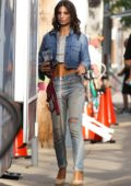 Emily Ratajkowski spotted leaving the hair and makeup trailer on the Set of 'I Feel Pretty' in Boston