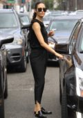 Emmy Rossum leaves the Doctor's office with a patch on her arm in Beverly Hills, Los Angeles