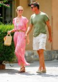 Eva Herzigova and fiancee Gregorio Marsiaj out shopping in Varigitti, Italy