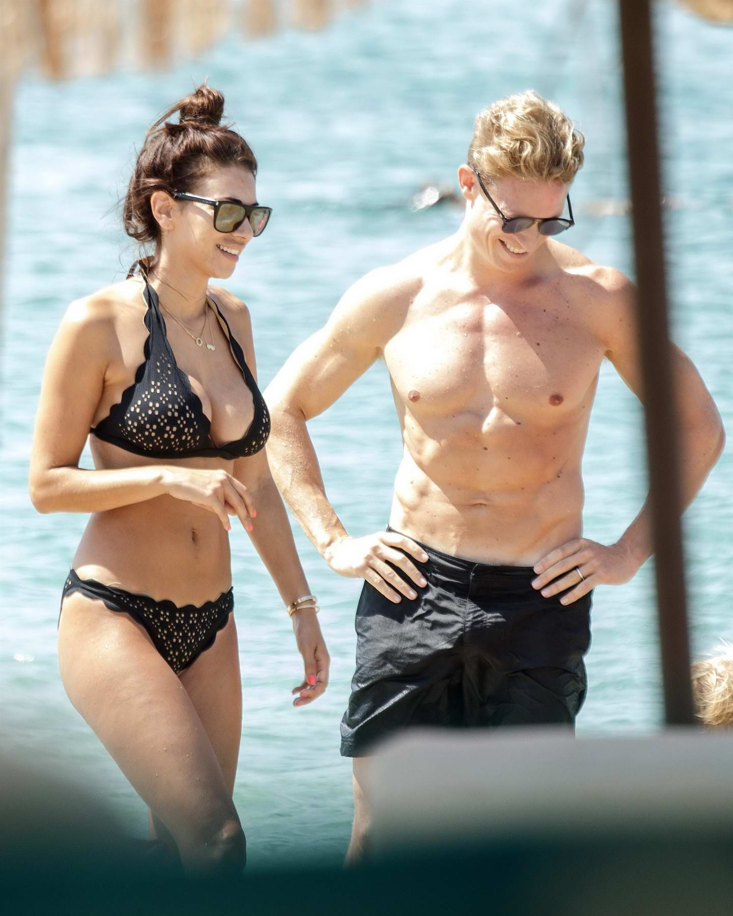 Georgia Salpa in bikini spending a family holiday in Santana Beach