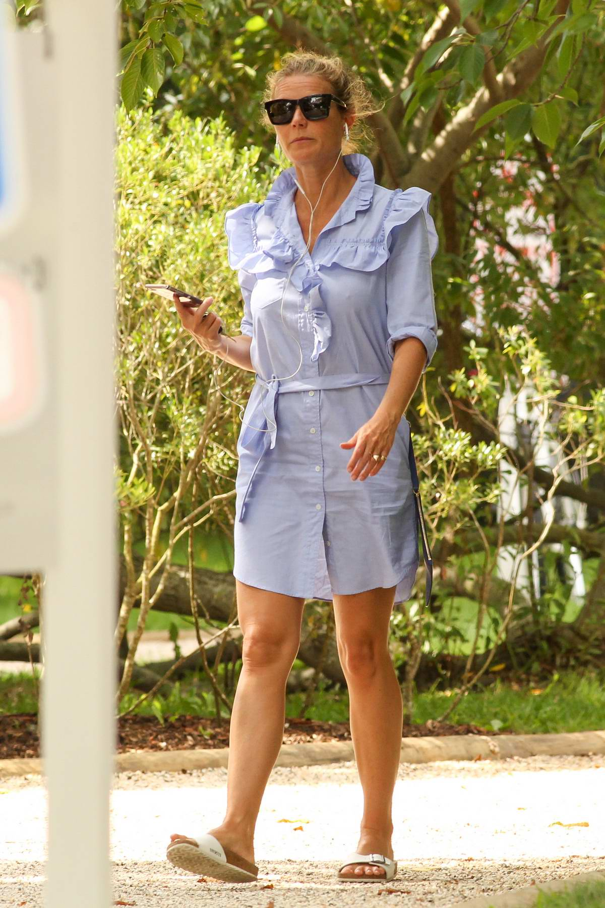Gwyneth Paltrow wears a Ruffled Shirt dress while out in the Hamptons
