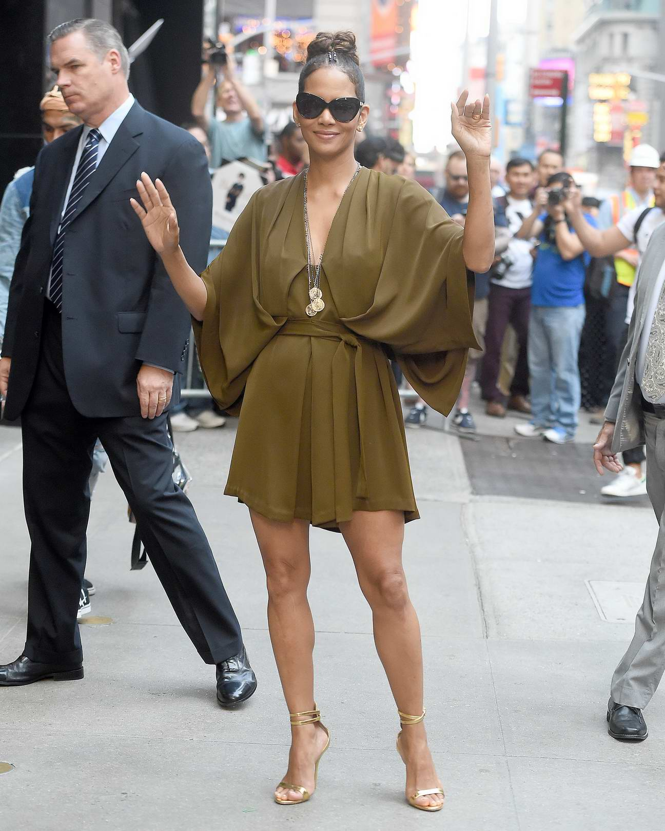 Halle Berry wearing a Green Dress at Good Morning America studios in New York