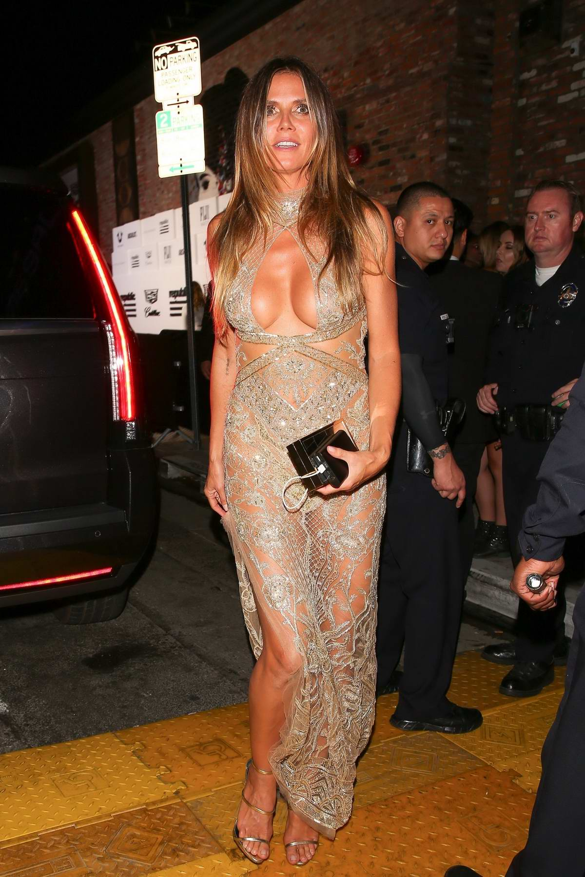 Heidi Klum is seen leaving TAO Nightclub after the Republic Records and Cadillac VMA after-party in Hollywood, Los Angeles