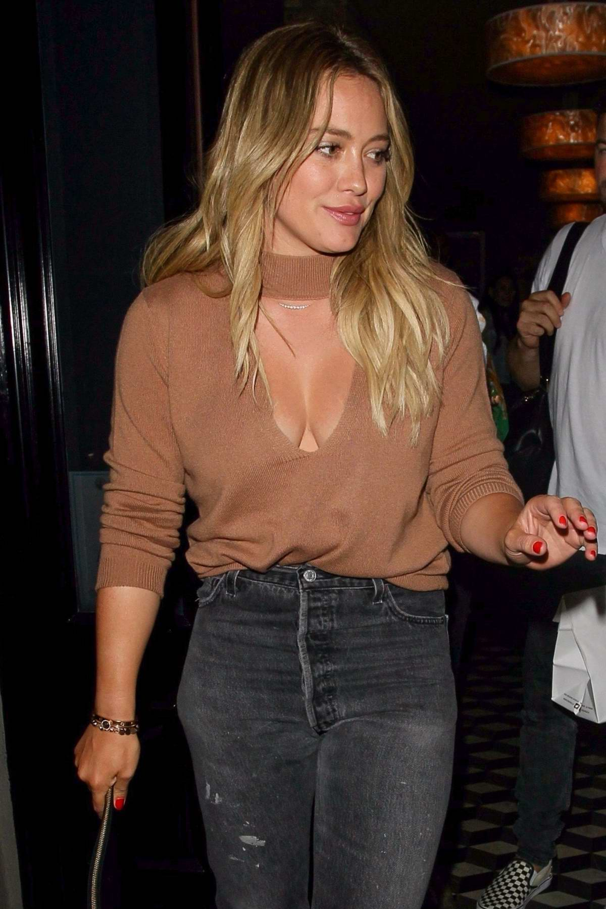Hilary Duff leaving after dinner at Craigs in West Hollywood, California