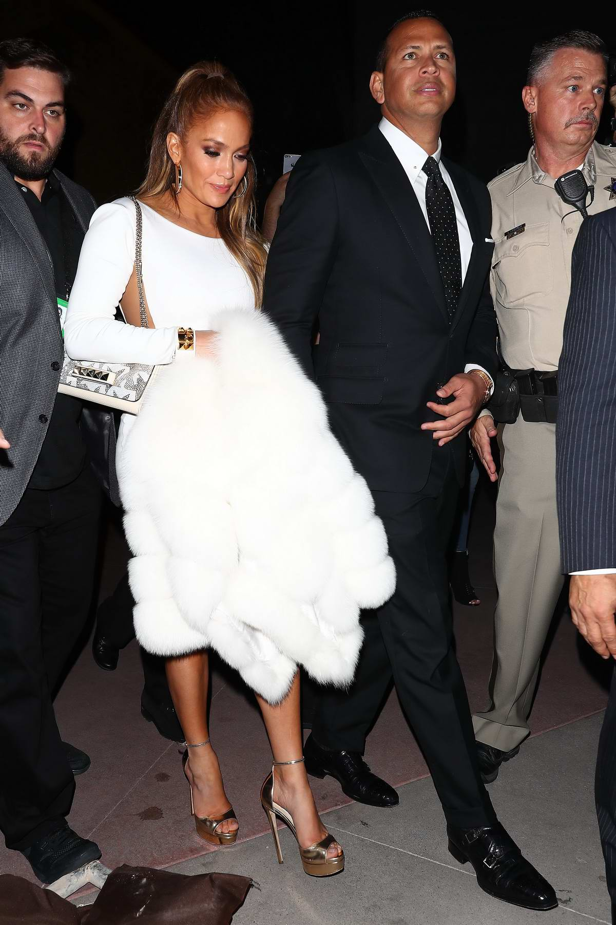 Jennifer Lopez and Alex Rodgriguez spotted leaving the Mayweather vs McGregor fight in Las Vegas