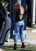 Jesinta Campbell wearing a backless top and jeans in Rose Bay, Sydney, Australia