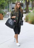 Jessica alba in Camo jacket heads to work in Los Angeles