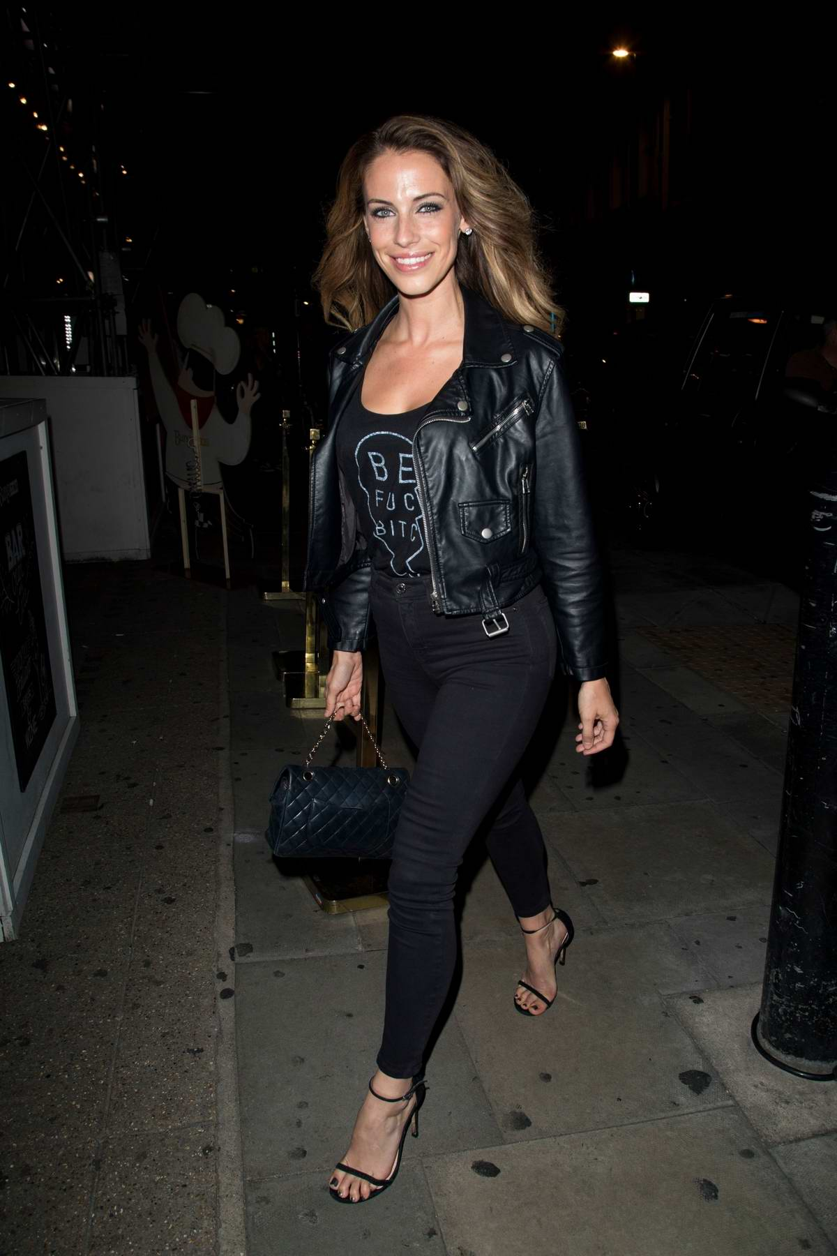 Jessica lowndes arriving at bunga bunga in covent garden in london