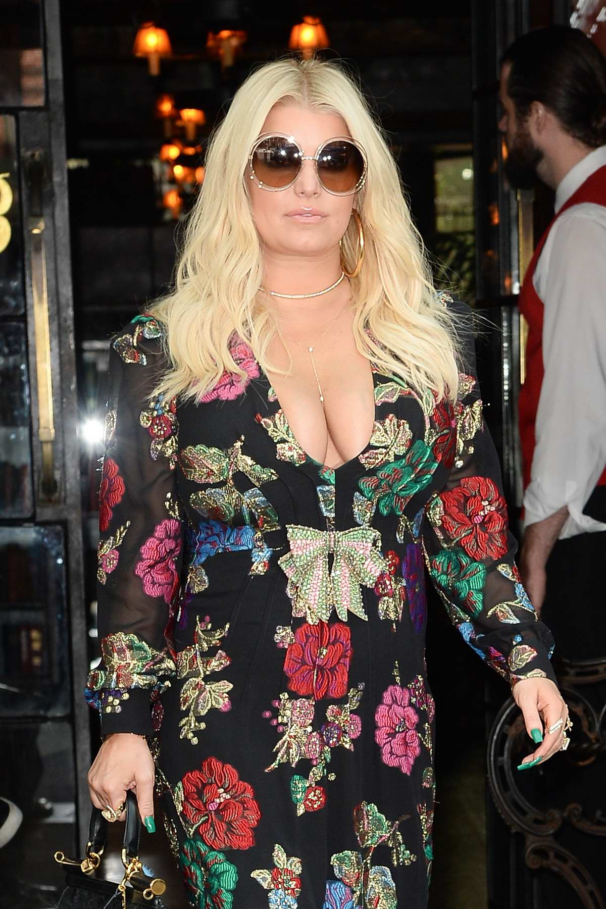 Jessica Simpson in a Floral dress leaving her Hotel in New York