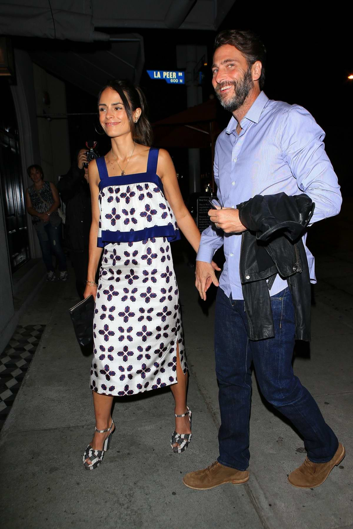 Jordana Brewster arrives for a dinner date with husband Andrew Form at Craigs in West Hollywood, California