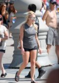 Jorgie Porter shows her Mother around the Venice Broadwalk, Los Angeles