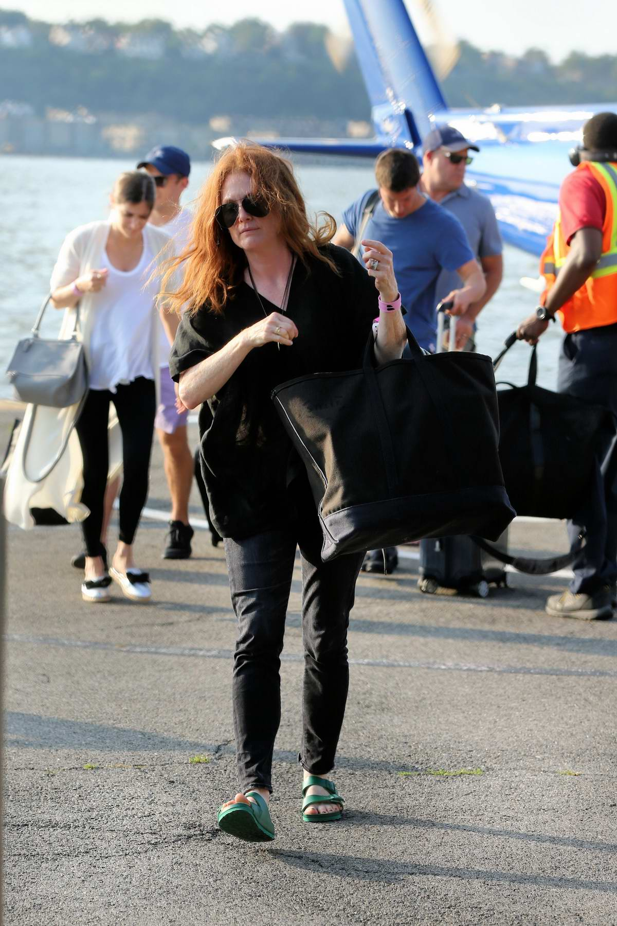 Julianne Moore arrives at the 30th street Heliport from the Hampton in New York City