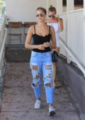 Kara Del Toro has lunch at Le Pain Quotidien with a friend in Hollywood, Los Angeles