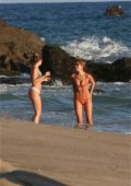 Kara Del Toro in bikini enjoys her time on the beach in Malibu