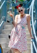 Karlie Kloss celebrates her 25th birthday at Disneyland in Los Angeles