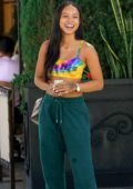 Karrueche Tran is spotted leaving lunch Il Pastaio in Beverly Hills