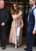 Kate Beckinsale in a Peach Coat leaving her Hotel in New York
