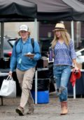 Kate Hudson with a morning coffee in hand arrives to the set of her upcoming movie 'Sisters' in Los Angeles