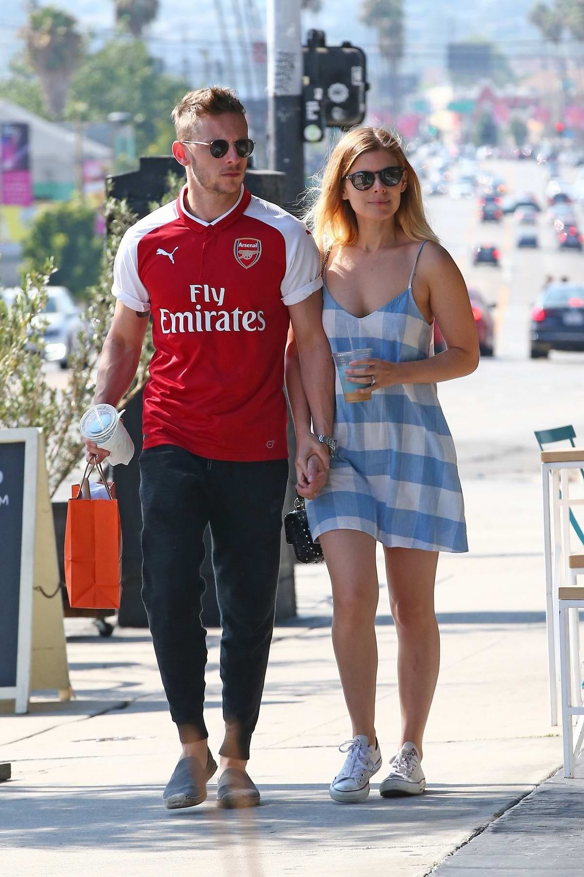 Kate Mara and Jamie Bell taking a walk out in Los Angeles