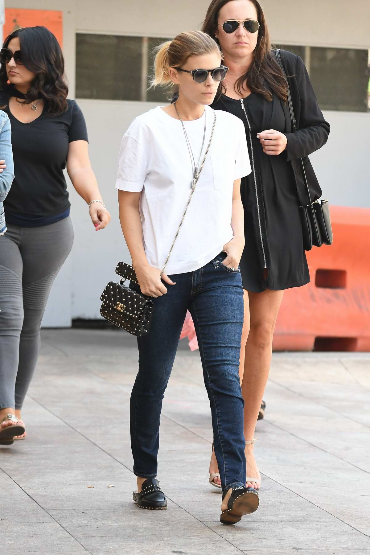 Kate Mara is spotted out for lunch with Friends at Cafe Gratitude in Beverly Hills, Los Angeles