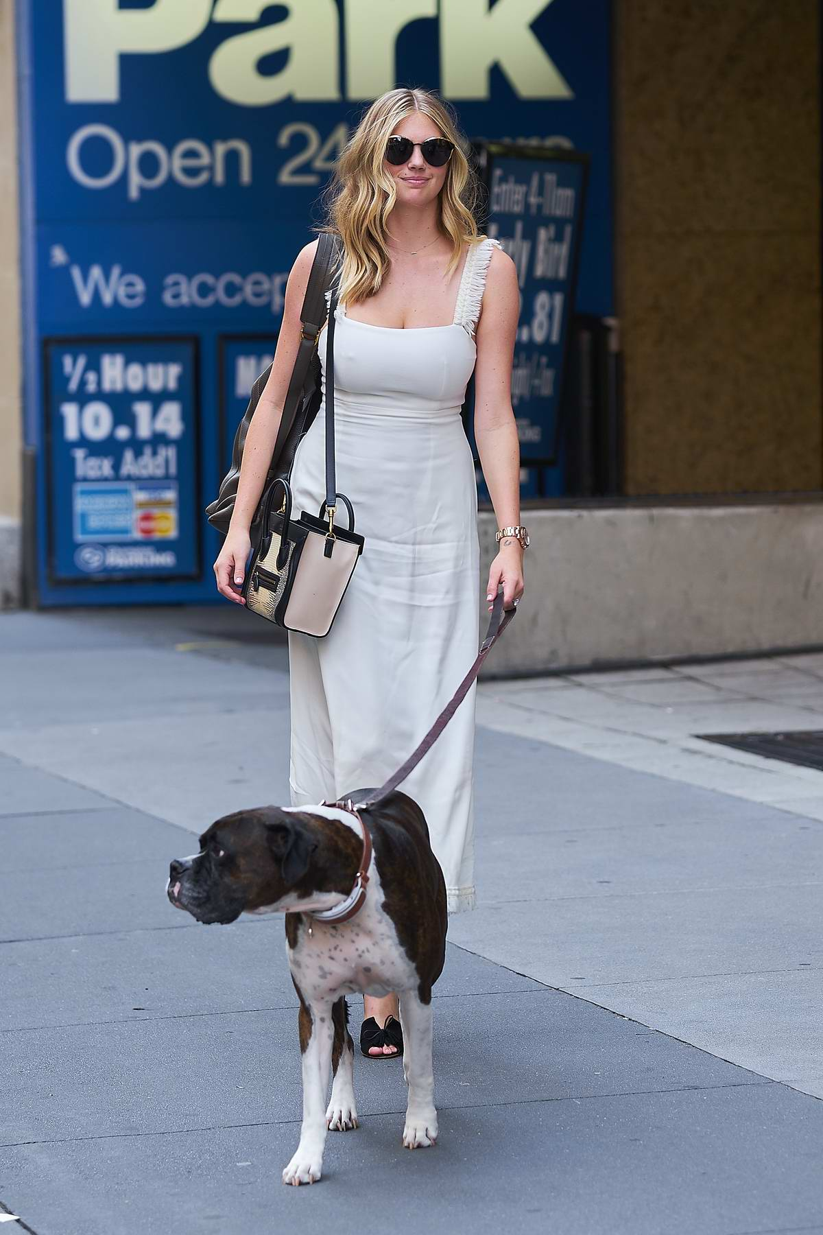 Kate Upton steps out with her dog Harley while wearing a White Dress in New York