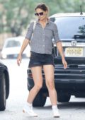Katie Holmes in Checkered Shirt and Denim Shorts spotted with Interior Designers while shopping for home decor in New York