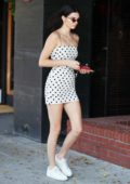 Kendall Jenner in a polka dotted mini dress spotted at a gas station in Beverly Hills, Los Angeles