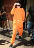 Kendall Jenner rocking all Orange look while leaving her Hotel in New York