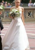 Kristen Bell dons a wedding dress as she shoots scenes for 'Like Father' in Central Park, Manhattan, New York