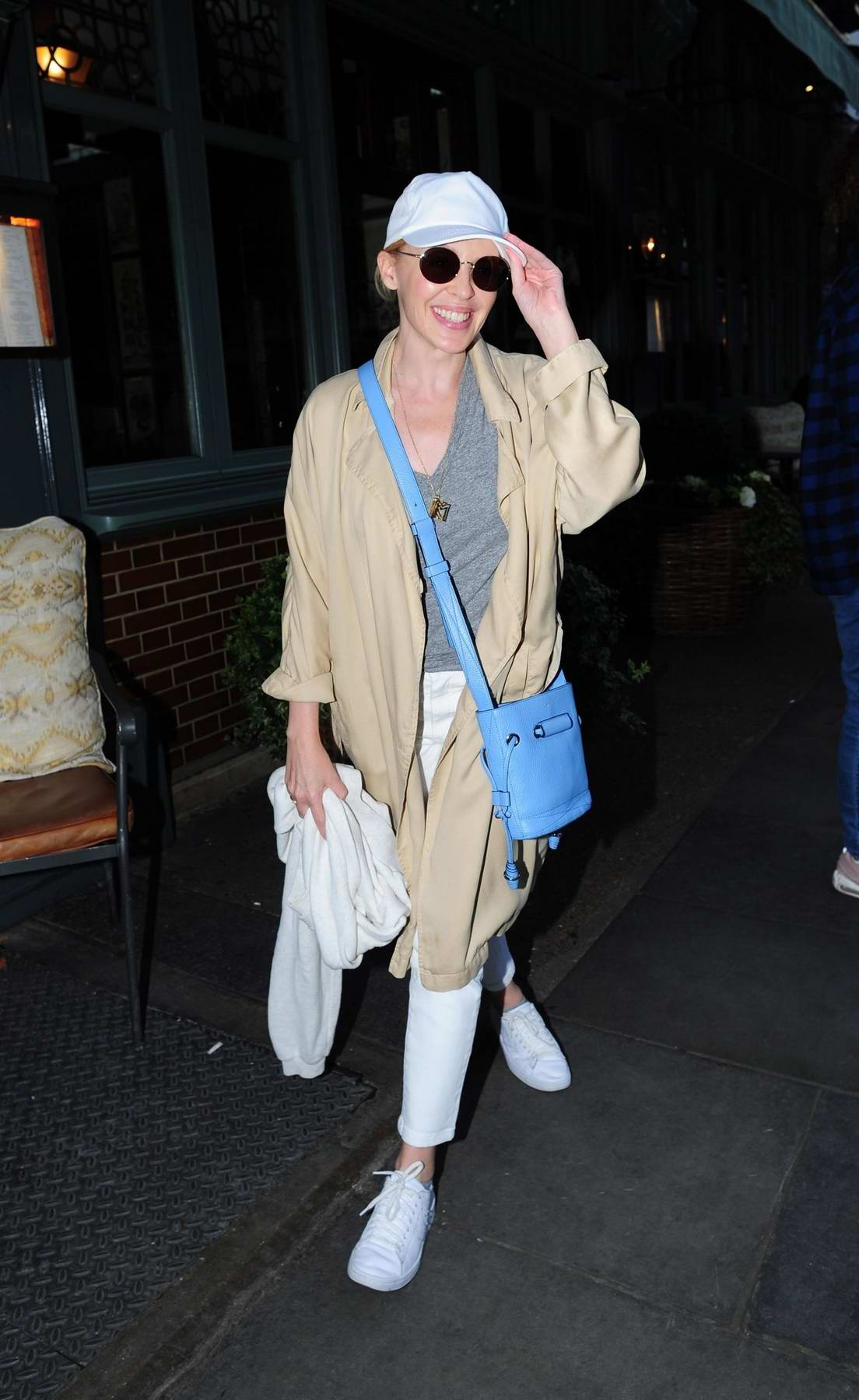 Kylie Minogue leaves the Ivy Chelsea Gardens in London