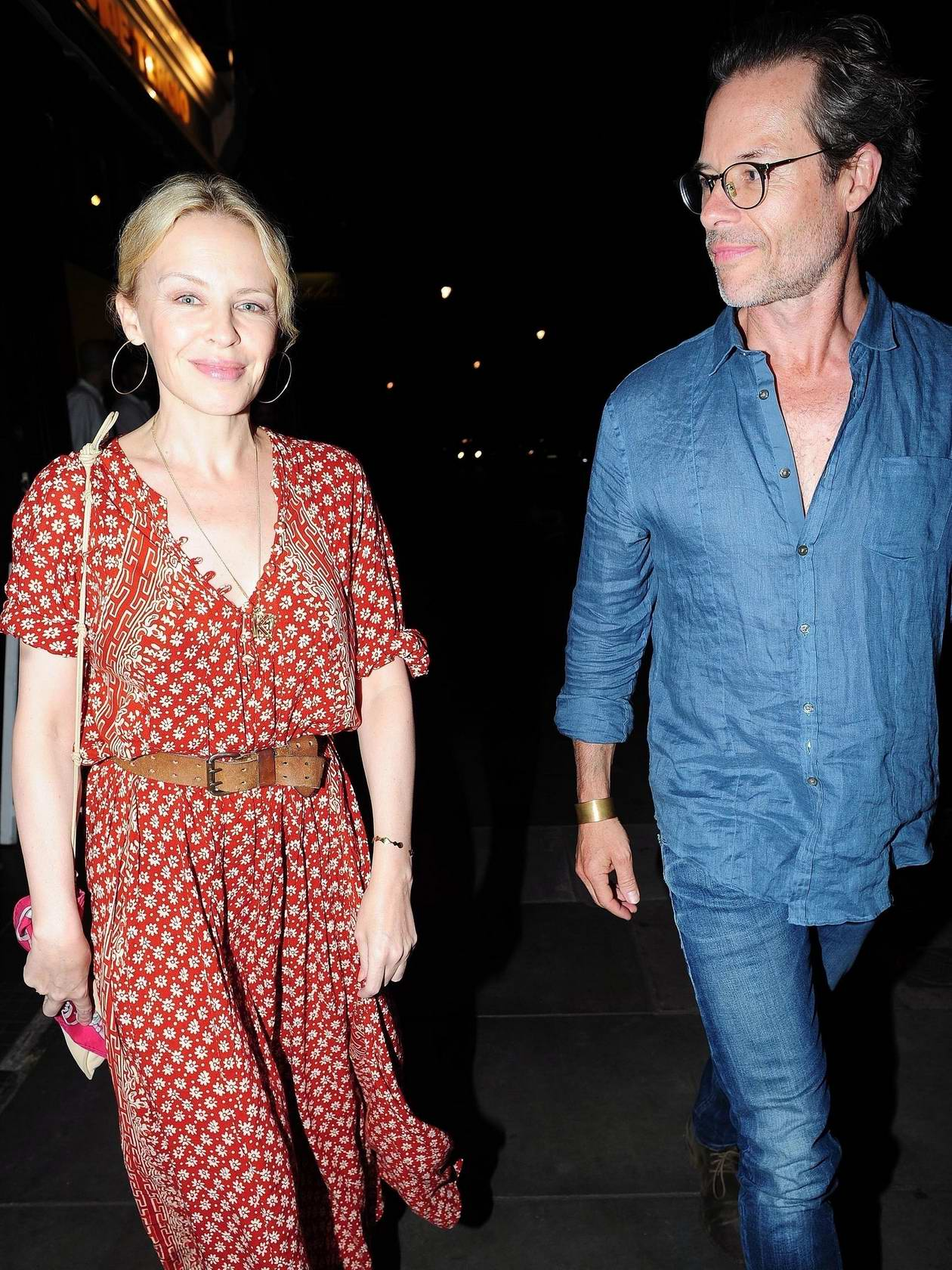 Kylie Minogue with Guy Pearce in a Spanish Restaurant in London