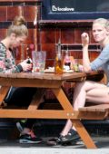 Lara Stone is seen enjoying an Al Fresco lunch with a girlfriend in North London