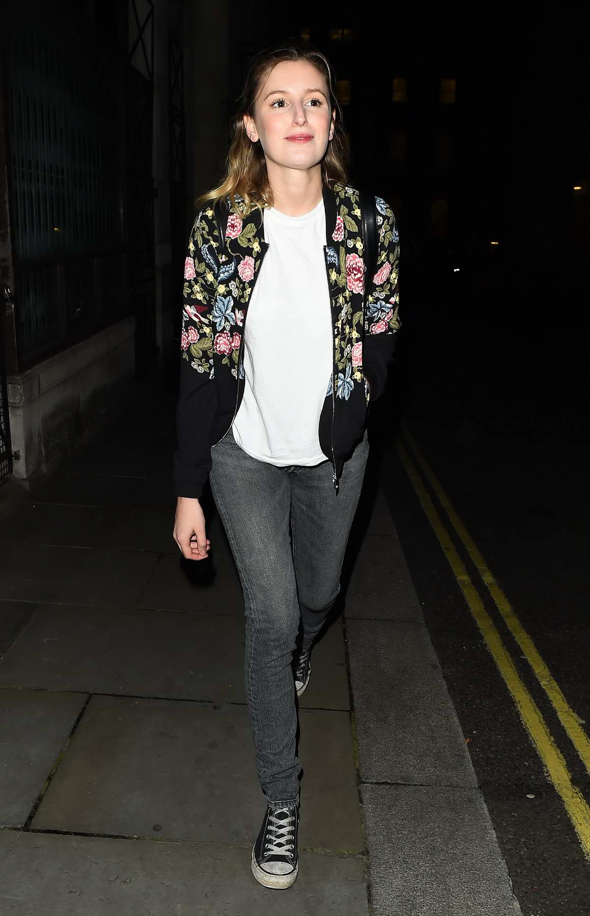 Laura Carmichael leaves after her performance in Disco Pigs at the Trafalgar Theatre in London