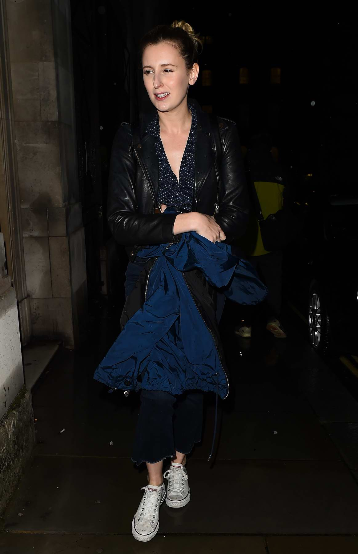Laura Carmichael leaves the Trafalgar Theatre following her Disco Pigs performance in London