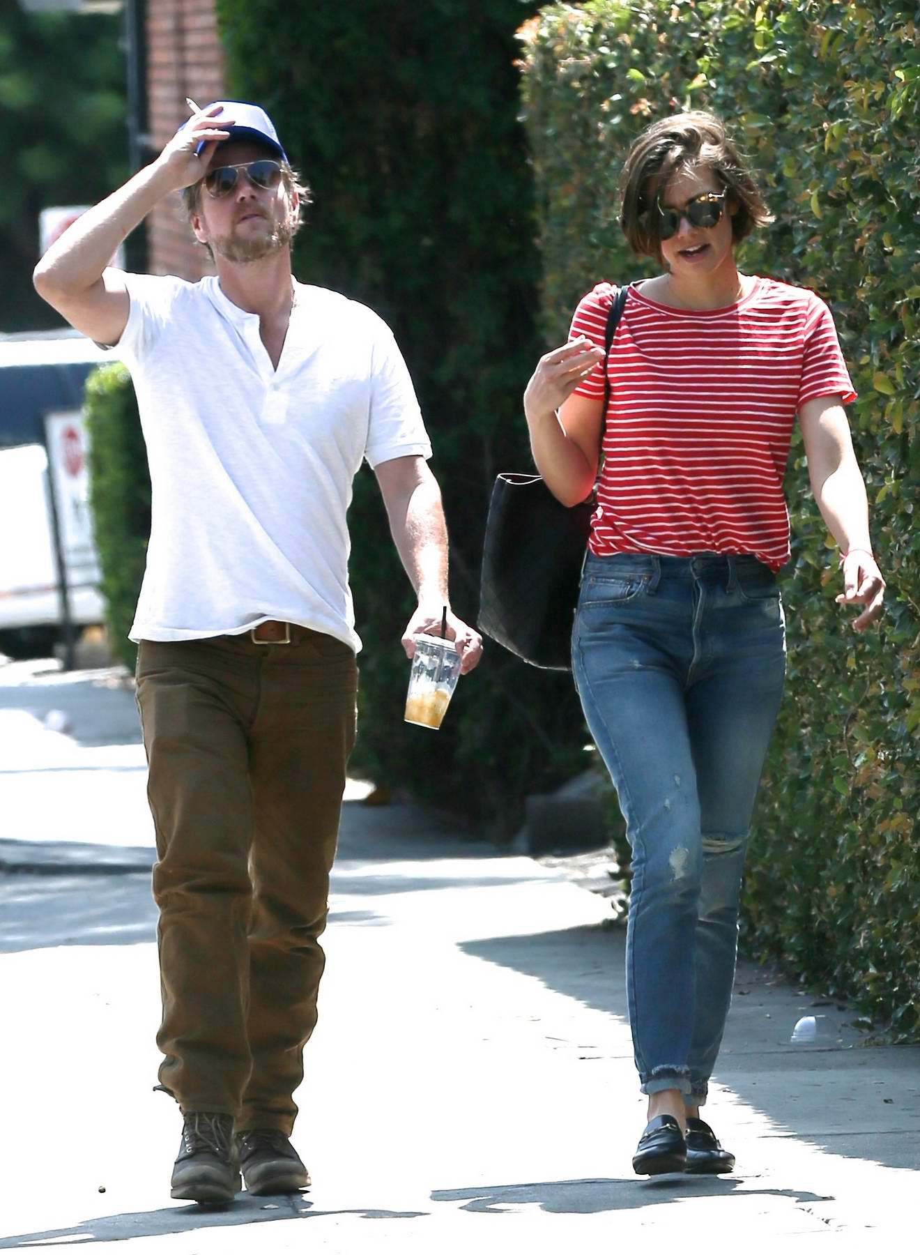 Lauren Cohan has a coffee date with a male companion in London