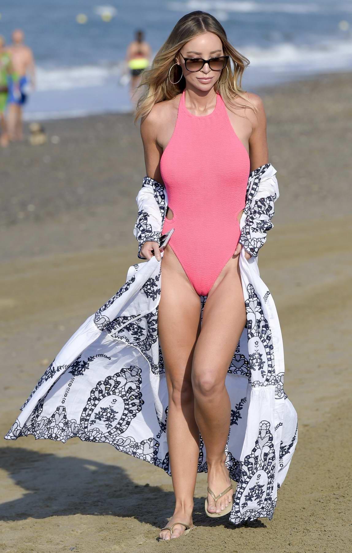 Lauren Pope in a Pink Swimsuit films TOWIE in Marbella, Spain