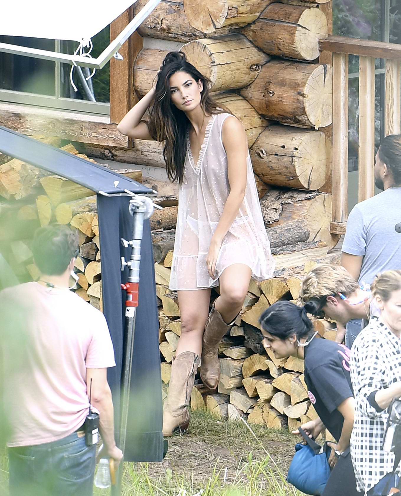 Lily Aldridge shooting for Victoria's Secrets upcoming holiday catalog in Aspen, Colorado