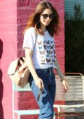 Lily Collins out shopping with her Mother in Beverly Hills, Los Angeles