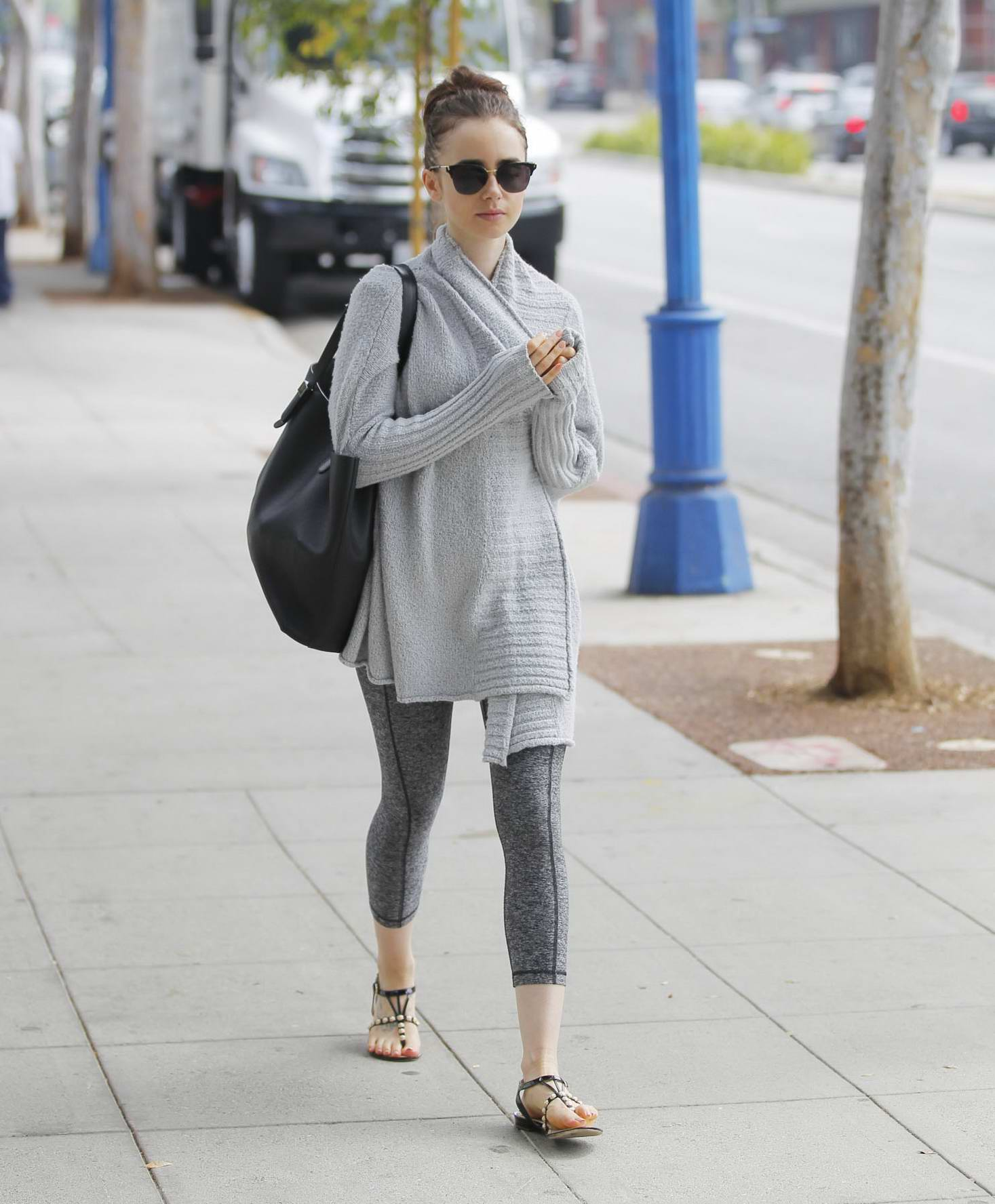 Lily Collins runs morning errands in Beverly Hills, Los Angeles
